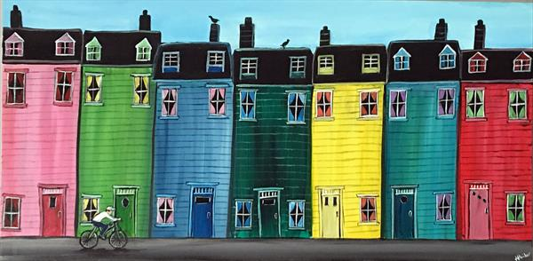 Colourful Houses In A Row by Aisha Haider