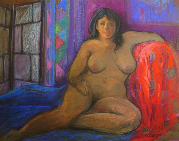 Nude with red Kimono by Patricia Clements