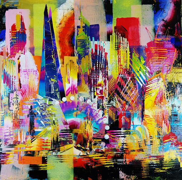 City of London Skyline abstract painting 965 by Eraclis Aristidou