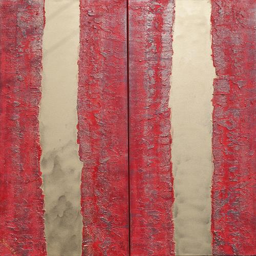 red long textured painting abstract gold stripe A246  by Ksavera Art