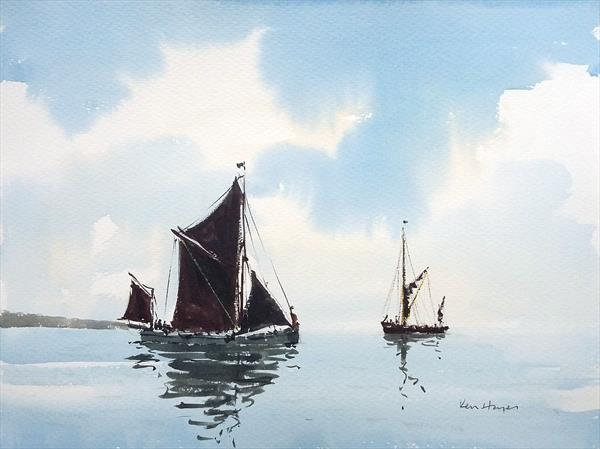 Passing Barges by Ken  Hayes