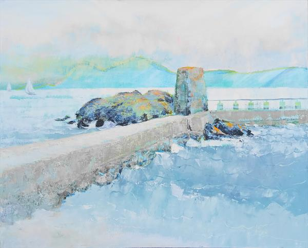Leaving on the dawn tide, Lifeboat Bay by Gillian A Walmsley