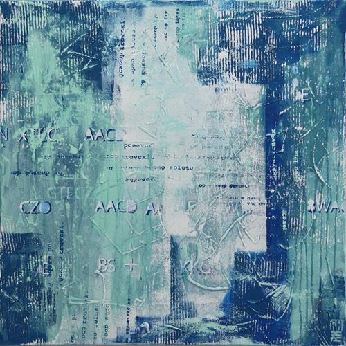 Abstract Painting - TypoPop in Blue by Ronald Hunter