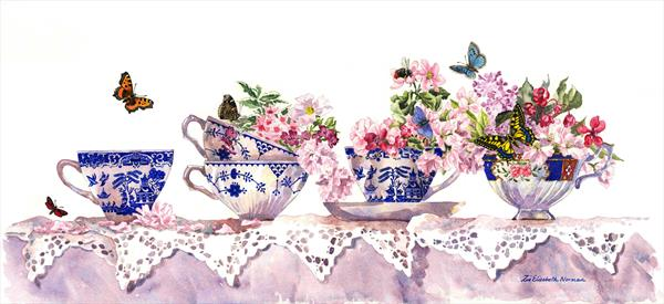 Tea Cups and Lace by Zoe Elizabeth Norman