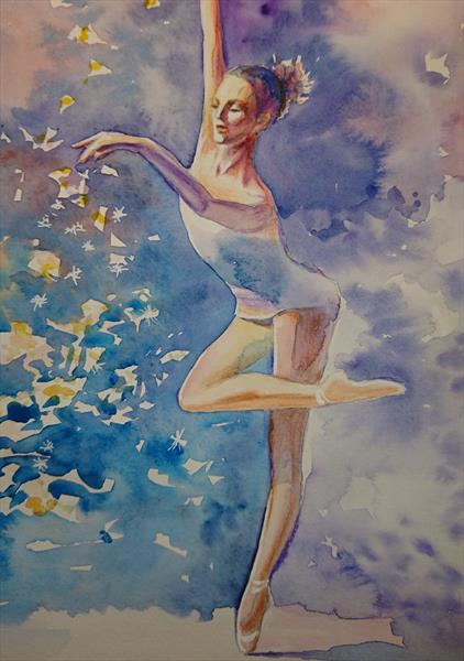 Let it snow Ballerina on the pint dancer Winter Christmas  Watercolour Artist paper Winsor & Newton  by Elena Haines
