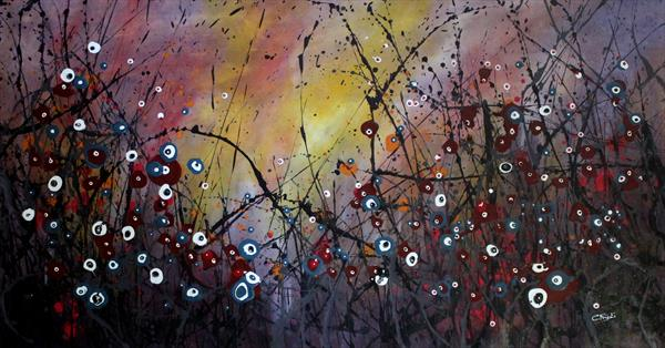 Winter Melodies #2 - Large original floral painting by Cecilia Frigati