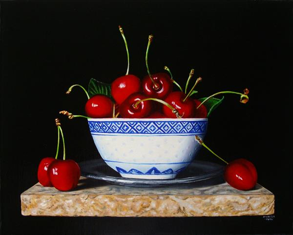 RESERVED Still life with cherries and Chinese bowl  by Jean-pierre Walter