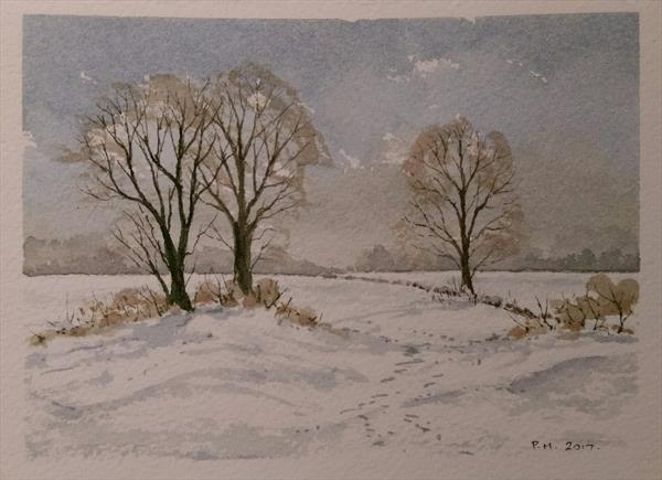 Bright but cold! by Peter Marshall | Artgallery co uk