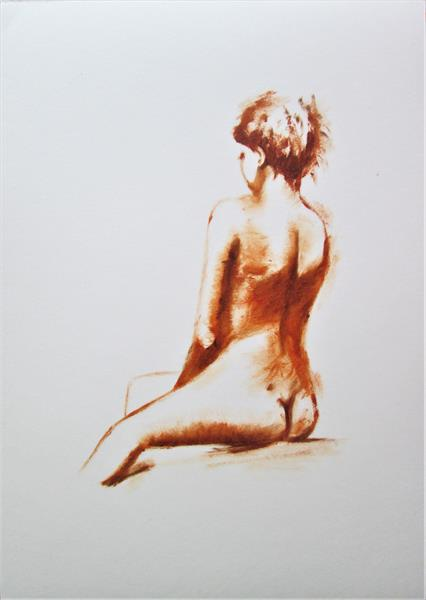 Nude sitting. Oil painting on paper by Marjan's Art