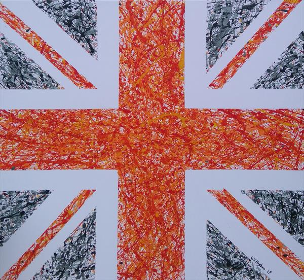 Union Splat in Orange and Grays by Gary Hogben