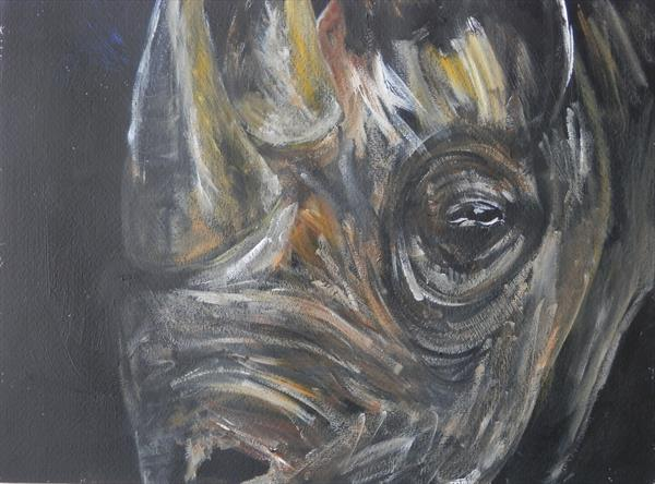 Rhino Out of the Darkness by Caroline Skinner