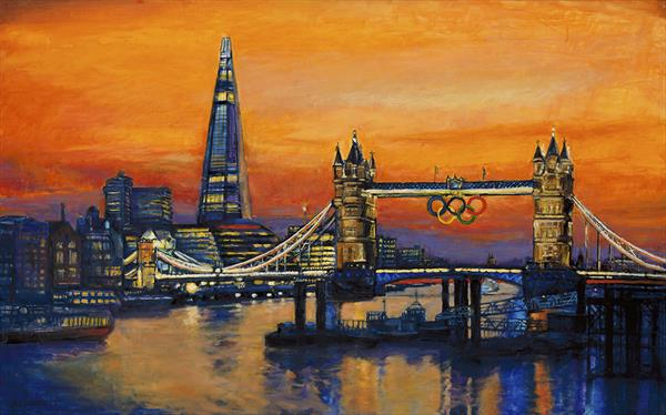 London Skyline Of Tower Bridge & Shard with Olympic Rings (Giclee Print) by Patricia Clements