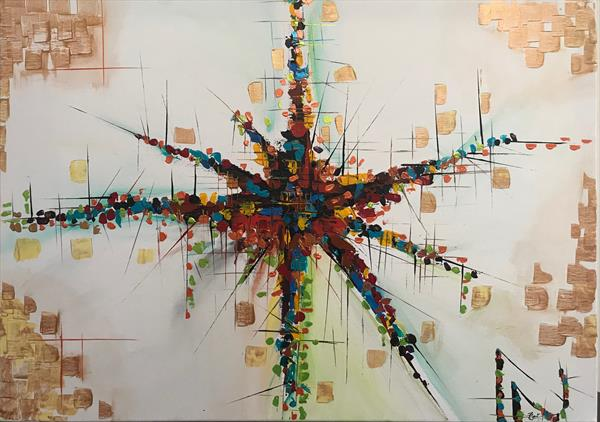 Speed  Abstract Painting 112 by  Rizna  Munsif
