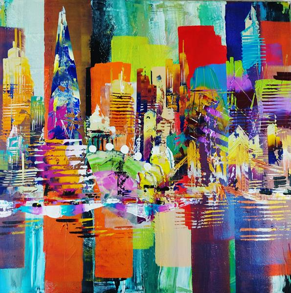 City of London Skyline abstract painting 981 by Eraclis Aristidou