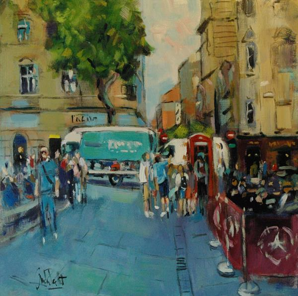 St Martin's Lane with Vans and Phone Box by Andre Pallat