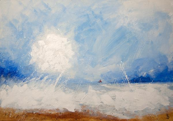 Red sail, rough sea. by Stuart Dalby