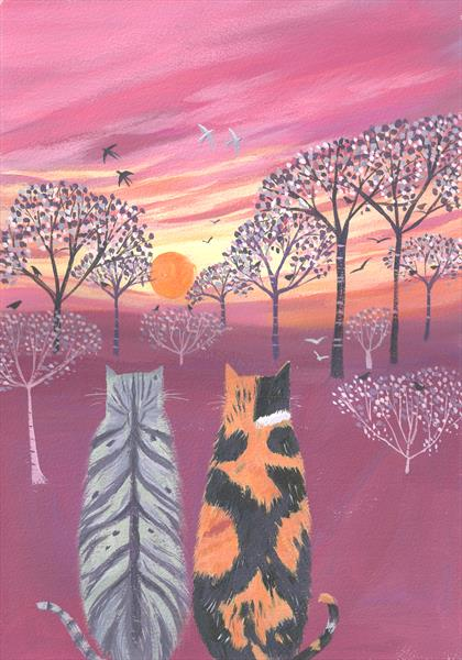 Birdwatching at Sunset by Mary Stubberfield