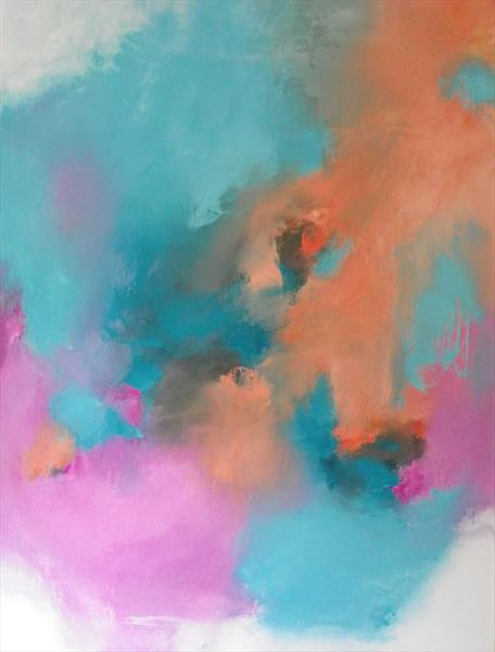 Softly, Softly Tangerine, pink & Turquoise by Wendy Hyde