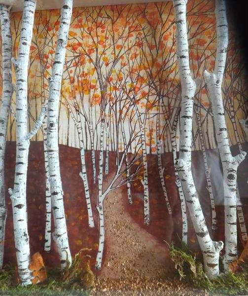 autumn birches collage by Sharon O'Brien