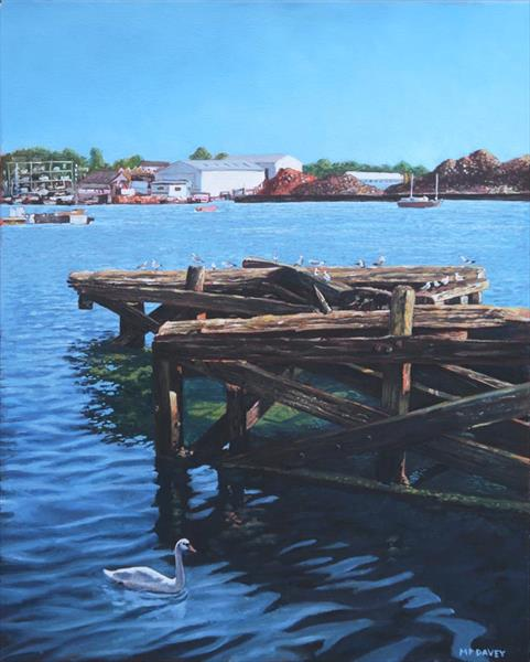 Southampton Northam River Itchen old jetty with sea birds by Martin  Davey