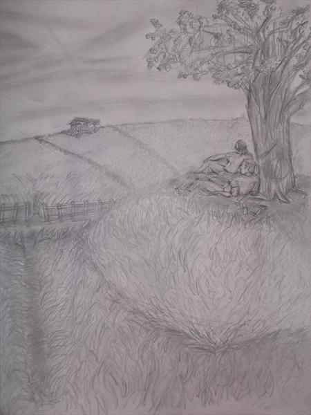 Two People Looking Out To a Field by Jordan Campbell