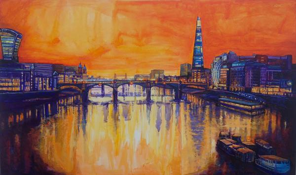Sunsetting behind the Shard London by Patricia Clements