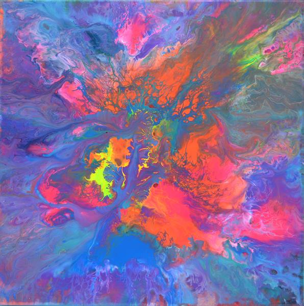 The Forest Song 3 - Abstract Fluid Painting by Soos Tiberiu - Anton