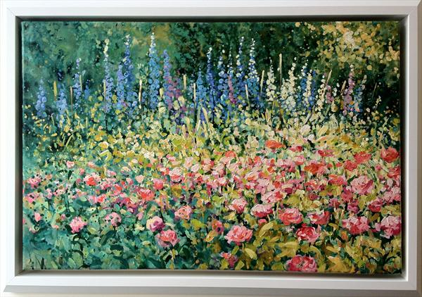 Roses & Delphiniums (On Display At the Art Gallery, Tetbury)