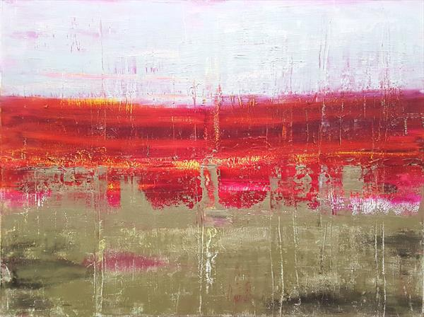 Hot frost - XL silver, tintin and purple red abstract painting  by Ivana Olbricht