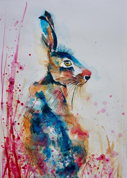 'Hare that loves Fuschia' original watercolour
