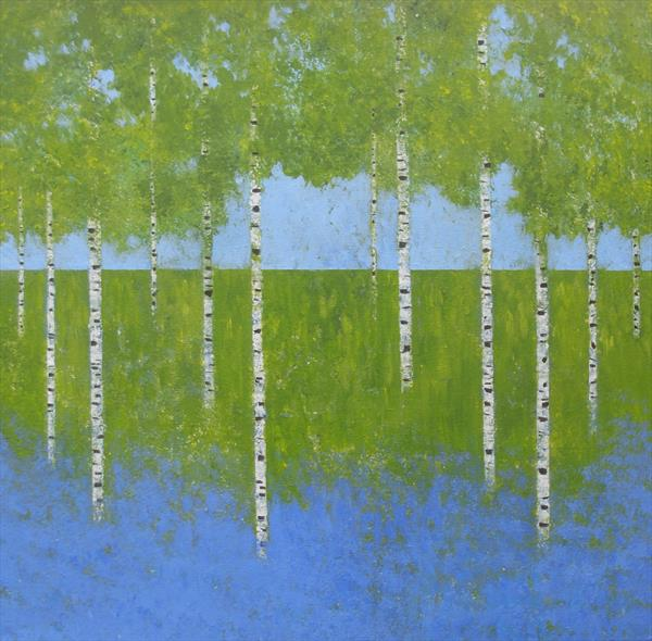 Silver Birch and Bluebells by Jan Rippingham