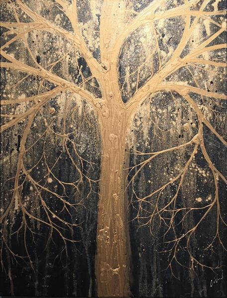 Black and Gold Tree by Carol Wood