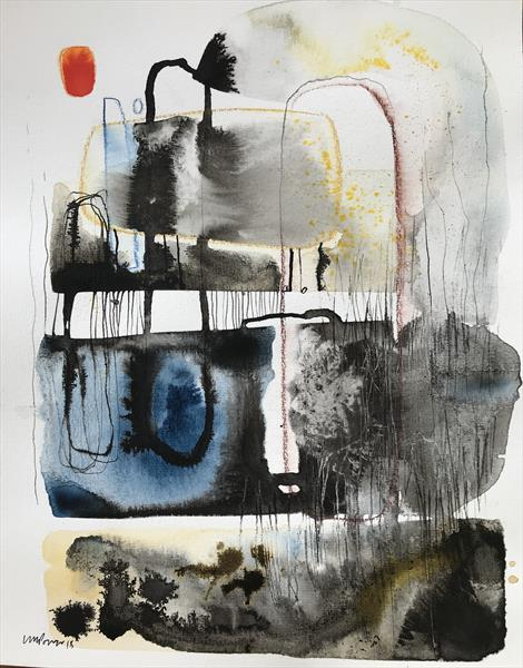 Distraction  - Expressive Absract landscape, ink and watercolour by Luci Power