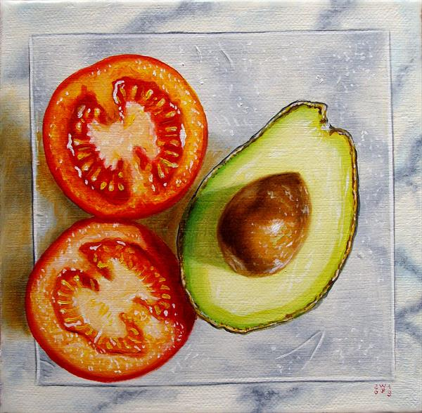 Tomato and avocado on plate by Jean-pierre Walter