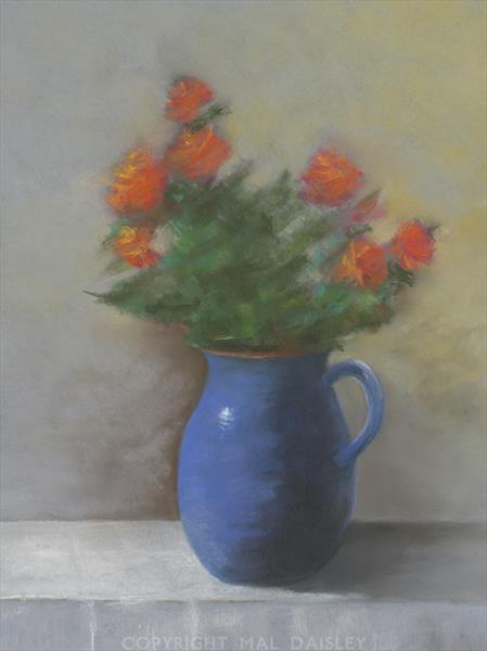ROSES IN A BLUE JUG by Mal Daisley