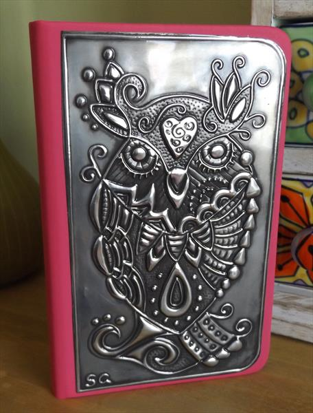 Pewter embossed notebook (pink)