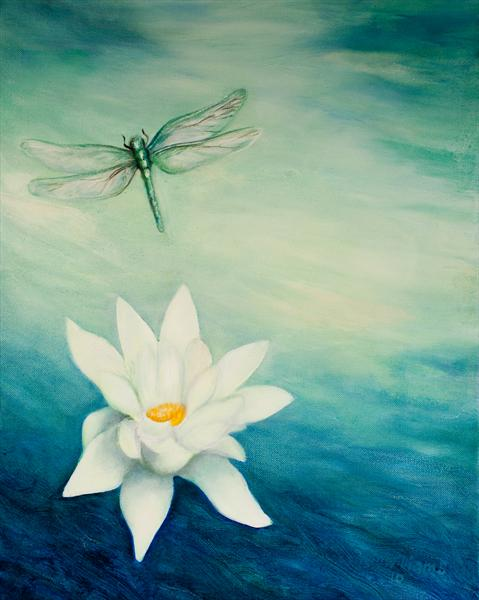 Lotus and Dragonfly by Rachel Moya Williams