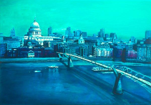 London Blues, cityscape of St Pauls and Millennium Bridge  by Patricia Clements