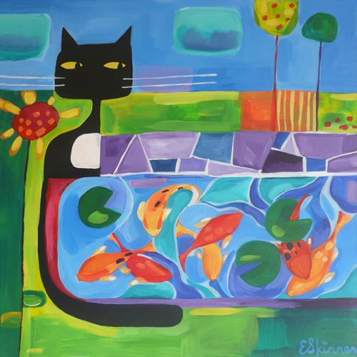 Cat and Pond by Emily Skinner