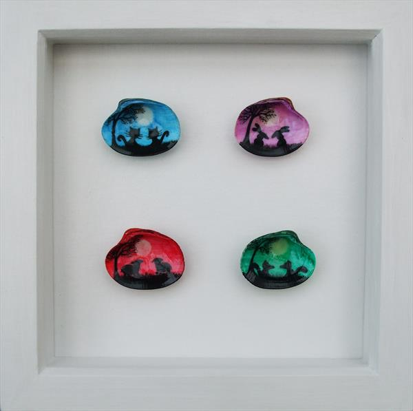 Animals Painting on Shells (Framed)