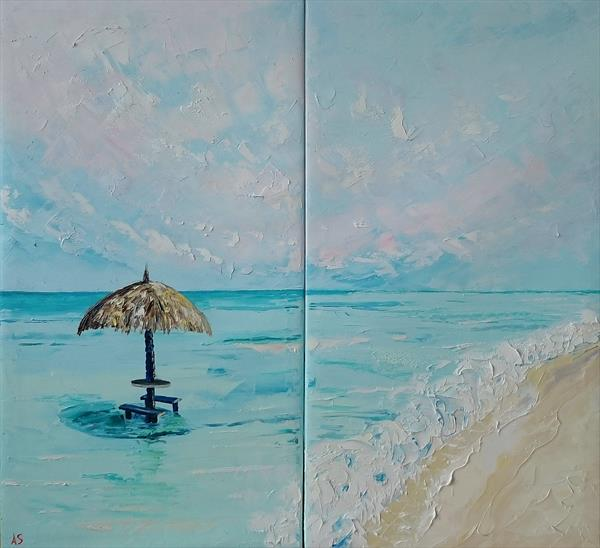 Dream paradise; Original palette knife oil painting on canvas; Set of two by Alena Shymchonak