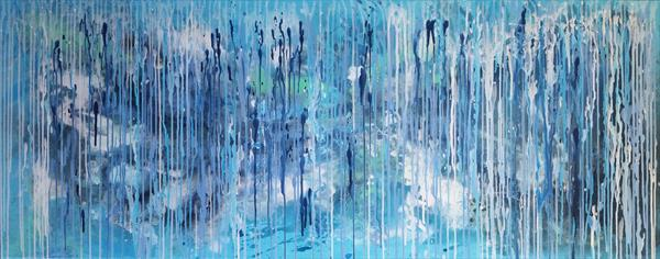 "59x 23,5""( 150x60cm), Best Mood 11, Landscape, blue painting  by Veronica Vilsan"