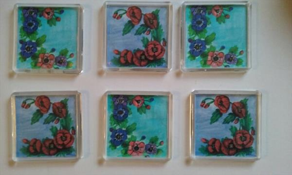 6 x hand painted printed Floral Fridge Magnets (A) by Raeshel Lloyd