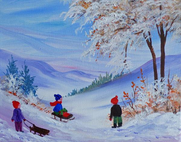 Winter Play. Acrylic on Box canvas by Pamela West