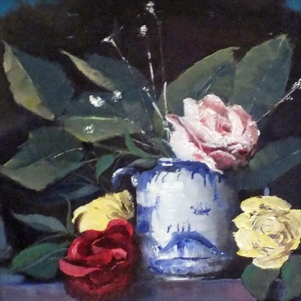 Roses and Sugar Bowl - Still Life Framed by Elizabeth Williams