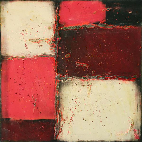 Abstract Painting - Neon City Blocks Red - A37 by Ronald Hunter