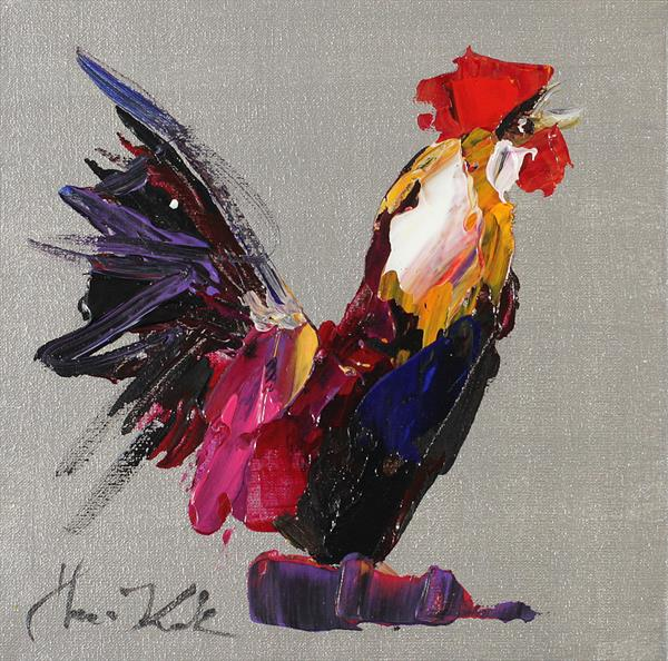Rooster on bright silver theme  by Margaret Raven