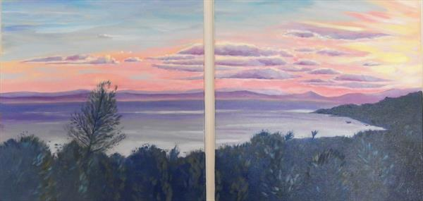 Sunset over the island Diptych by Mary Stubberfield