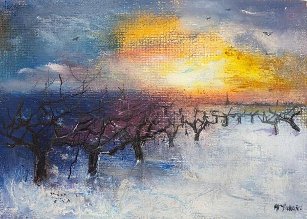 Winter Sun over Orchard by Teresa Tanner