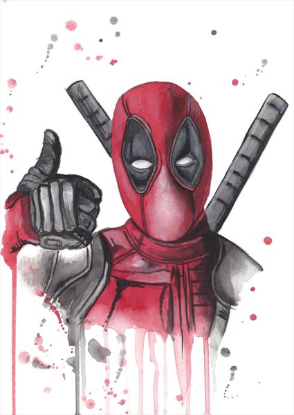 Marvel Deadpool Watercolour A4 Painting by Matt Dale